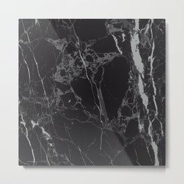 Black V Marble Metal Print
