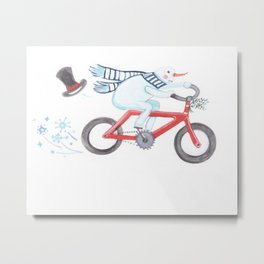Walden's Red Bike Metal Print