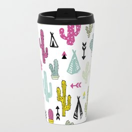 Cacti and teepee indian summer colorful boho cactus mix Travel Mug