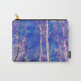 White Trees Light Blue Sky In February Watercolor Carry-All Pouch