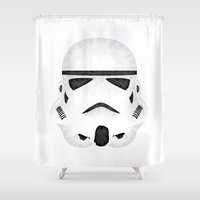 storm trooper Shower Curtains featuring Trooper by Charles Dew