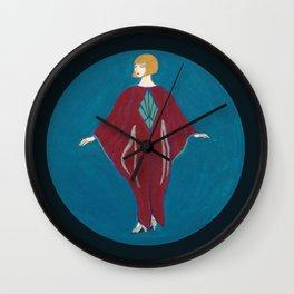 Art Deco Red Dress Lady Wall Clock