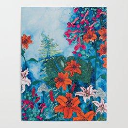 Blue Jungle of Orange Lily and Pink Trumpet Vine Floral Poster