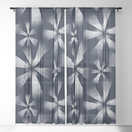 Fragmented Burst in B&W Sheer Curtain