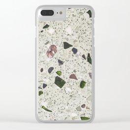 green Terrazzo Clear iPhone Case