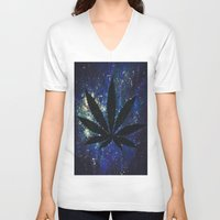 marijuana V-neck T-shirts featuring Marijuana Galaxy by Megan Mayhem 17