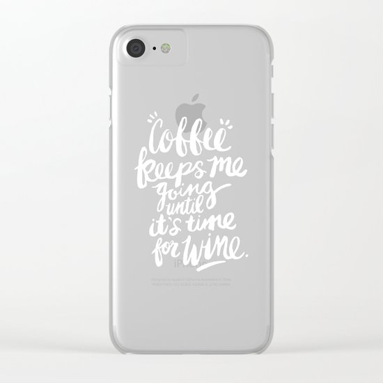Coffee & Wine – White Ink Clear iPhone Case