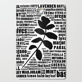 Herb Typography Kitchen Art - Black and White Wall Art Print Cutting Board