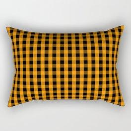 Large Pumpkin Orange and Black Gingham Check Plaid Rectangular Pillow