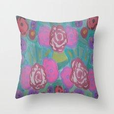 Bohemian Flower Garden Throw Pillow