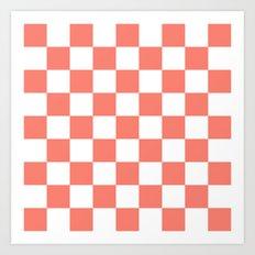 Checker (Salmon/White) Art Print