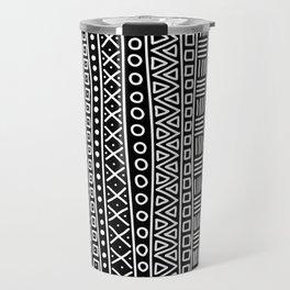 Black white hand painted geometrical aztec pattern Travel Mug