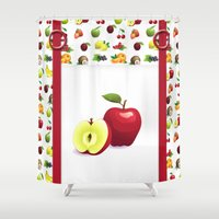 tote bag Shower Curtains featuring Red Apple and Tutti Frutti Tote Bag With Pretend Front Pocket And Rings by Moonlake Designs