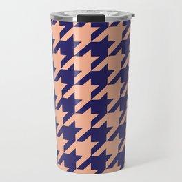 Houndstooth (Blue and Beige) Travel Mug