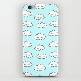Clouds dreaming in blue with closed eyes and eyelashes iPhone Skin
