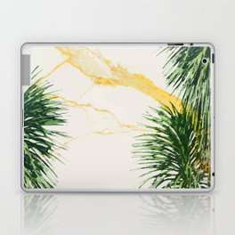 Gold marble texture with palm tree 1 Laptop & iPad Skin