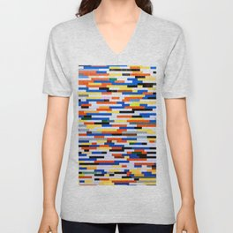 Building Blocks Pattern Multicolor  Unisex V-Neck