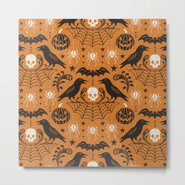 All Hallows' Eve - Orange Black Halloween Metal Print