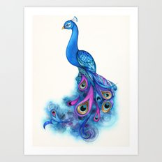 Watercolor Peacock Art Print