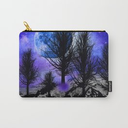 NEBULA STARS MOON BLACK TREES MOUNTAINS VIOLET BLUE Carry-All Pouch