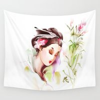 japanese Wall Tapestries featuring Japanese by tatiana-teni