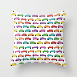 Vintage Mini Cars in rainbow colors Throw Pillow