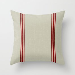 Red Stripes on Linen color background French Grainsack Distressed Country Farmhouse Throw Pillow