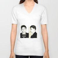 frank sinatra V-neck T-shirts featuring Frank Sinatra Mug Shot by Lauren Randalls ART