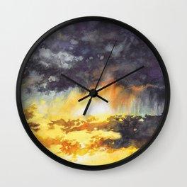 Watercolor Sky No 5 - colorful rain clouds Wall Clock