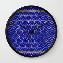Flower of life pattern - Lapis Lazuli and Gold Wall Clock