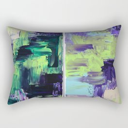 Violet & Green On A Rainy Day Rectangular Pillow