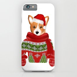 Christmas corgi puppy art iPhone Case