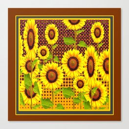 COFFEE BROWN SUNFLOWERS CABIN ART Canvas Print