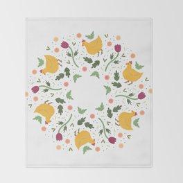 Chicken Garden Mandala Swirl Pattern Throw Blanket