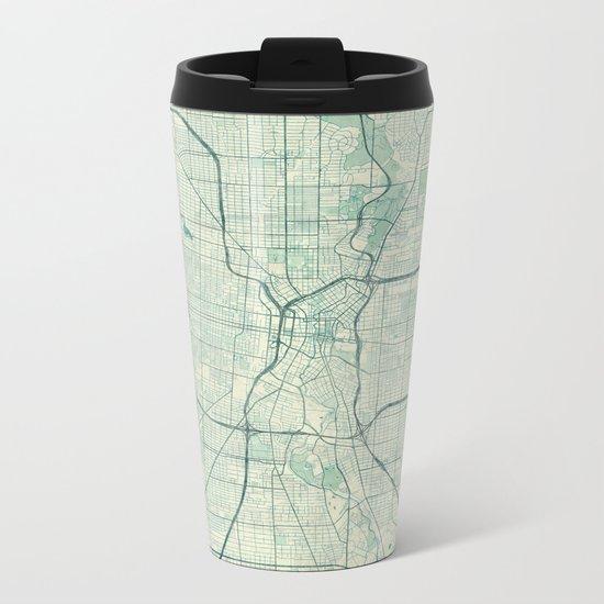 San Antonio Map Blue Vintage Metal Travel Mug
