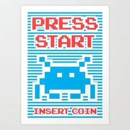 Press Start, Insert Coin (blue version) Art Print