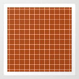 Windowpane Check Grid (white/burnt orange) Art Print