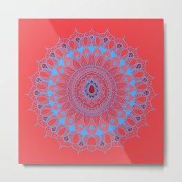 Summer Mandala Blue and Pink Rose Metal Print