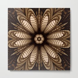 Abstract flower mandala with geometric texture Metal Print