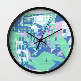 Random green, pink and blue shapes on white messy blue lines wall Wall Clock