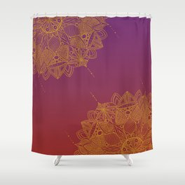 Red and Purple Mandala Pattern Shower Curtain
