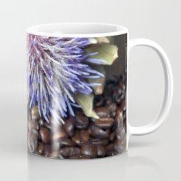Fresh Coffee Beans with Blue Artichoke Coffee Mug