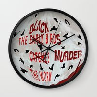 dramatical murder Wall Clocks featuring MURDER  -  021 by Lazy Bones Studios