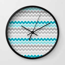 Turquoise Teal Blue Gray Chevron Wall Clock