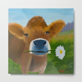 Ruthie with a daisy for Aunt Marsha Metal Print