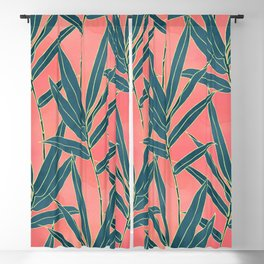 Modern coral and blue foliage design Blackout Curtain