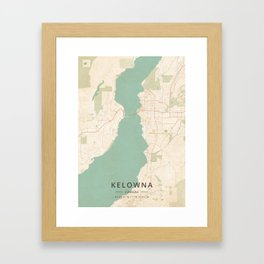 Kelowna, Canada - Vintage Map Framed Art Print