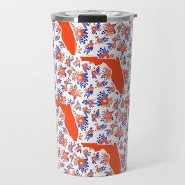 Florida University silhouette orange and blue pattern sports football college gators gator fan Travel Mug