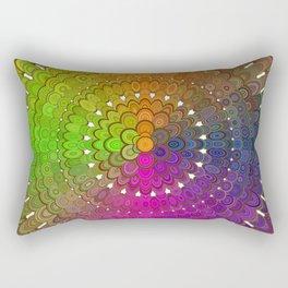 Colorful Floral Mandala Rectangular Pillow