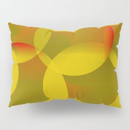 Abstract soap of lemon molecules and red bubbles on a yellow background. Pillow Sham